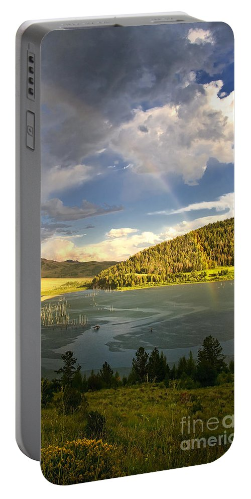 Rainbow Portable Battery Charger featuring the photograph Homeground Rainbow Landscape by Timothy Flanigan