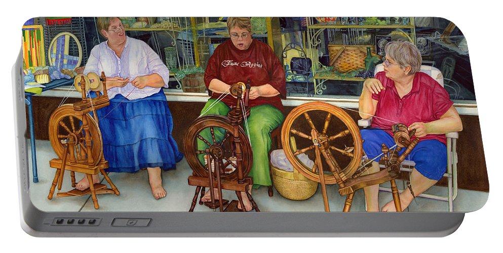 Homespun Fun Portable Battery Charger featuring the painting Homespun Fun by Hailey E Herrera