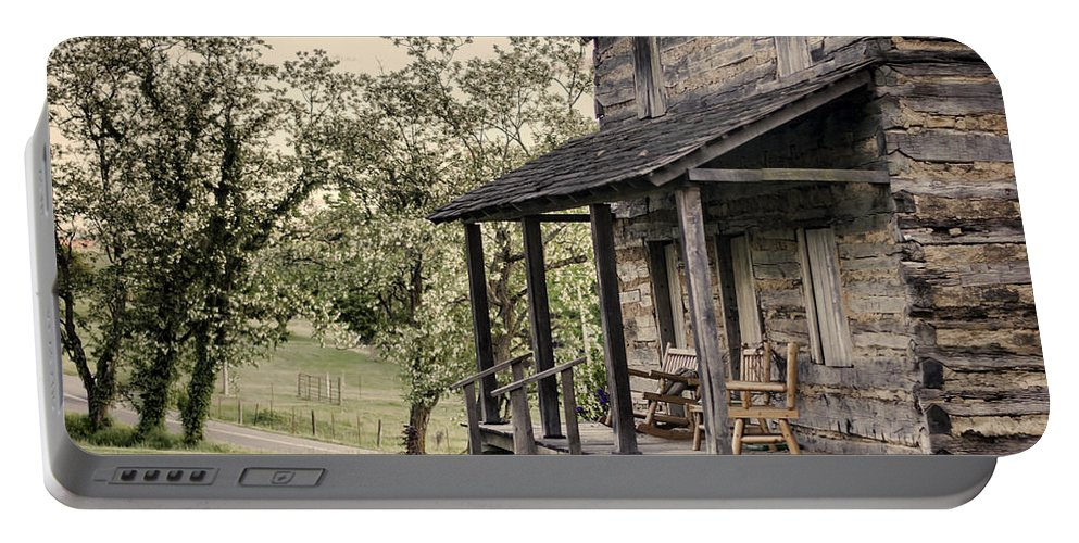 Log Cabin Portable Battery Charger featuring the photograph Homestead At Dusk by Heather Applegate