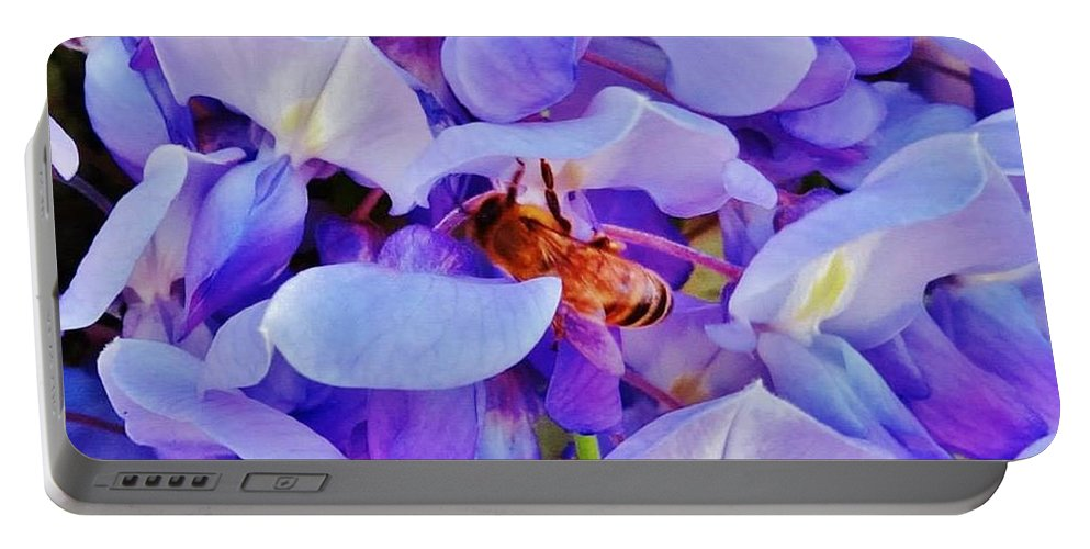 Honey Bee Portable Battery Charger featuring the painting Honey Bee Cling by Lois  Rivera