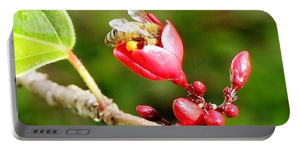 Red Portable Battery Charger featuring the photograph Honey Bee Loaded With Pollen by Mary Deal