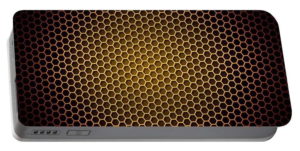 Abstract Portable Battery Charger featuring the digital art Honeycomb Background by Henrik Lehnerer
