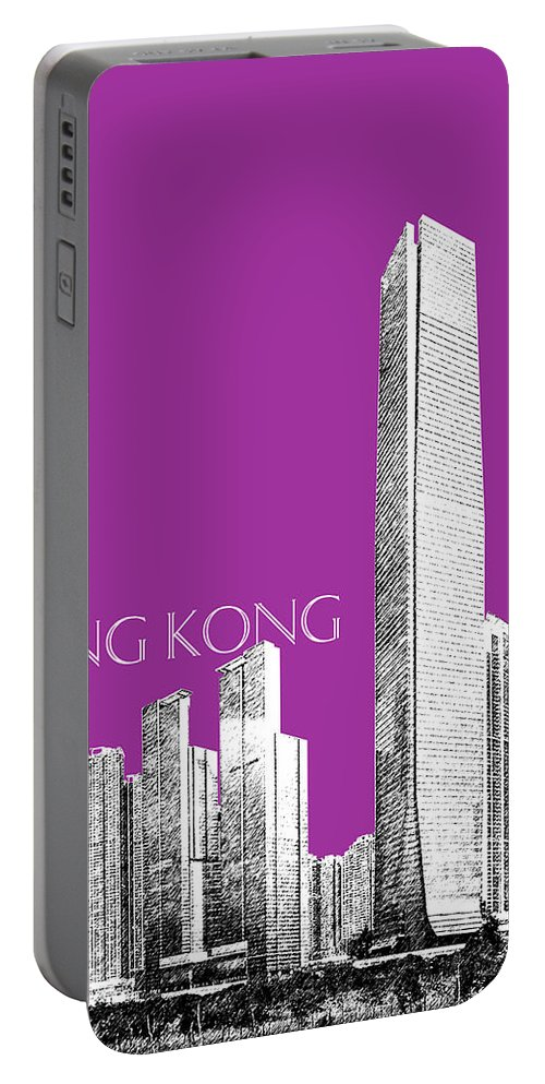 Architecture Portable Battery Charger featuring the digital art Hong Kong Skyline 2 - Plum by DB Artist