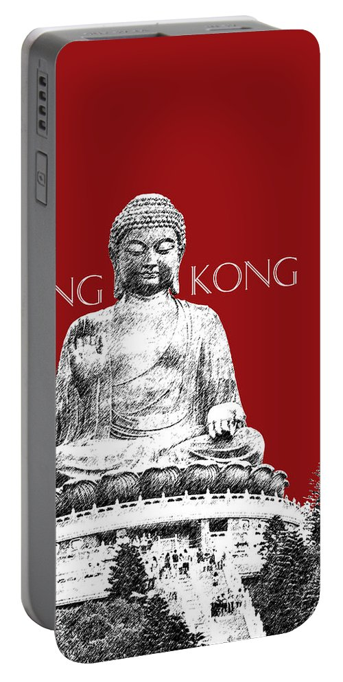 Architecture Portable Battery Charger featuring the digital art Hong Kong Skyline Tian Tan Buddha - Dark Red by DB Artist