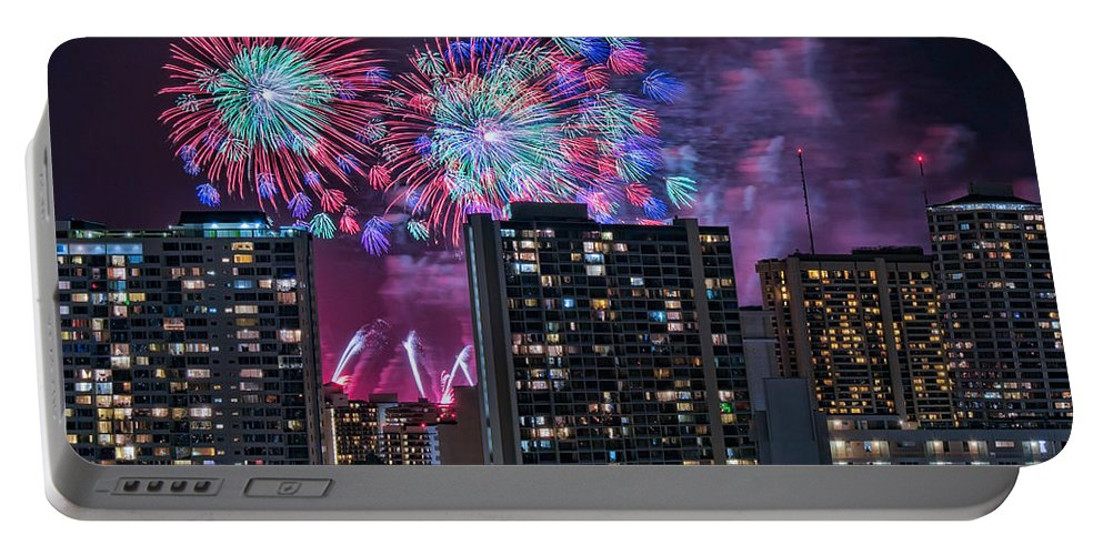 Hawaii Portable Battery Charger featuring the photograph Honolulu Festival Fireworks by Dan McManus
