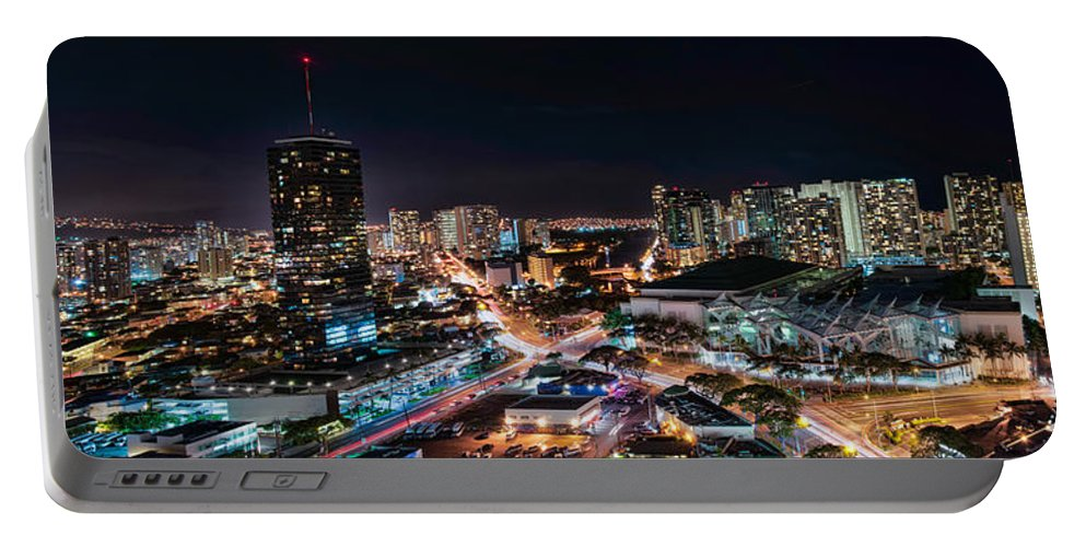 Hawaii Portable Battery Charger featuring the photograph Honolulu Night Panorama by Dan McManus