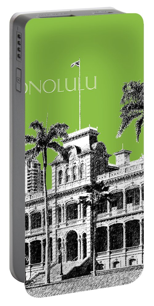 Architecture Portable Battery Charger featuring the digital art Honolulu Skyline Iolani Palace - Olive by DB Artist