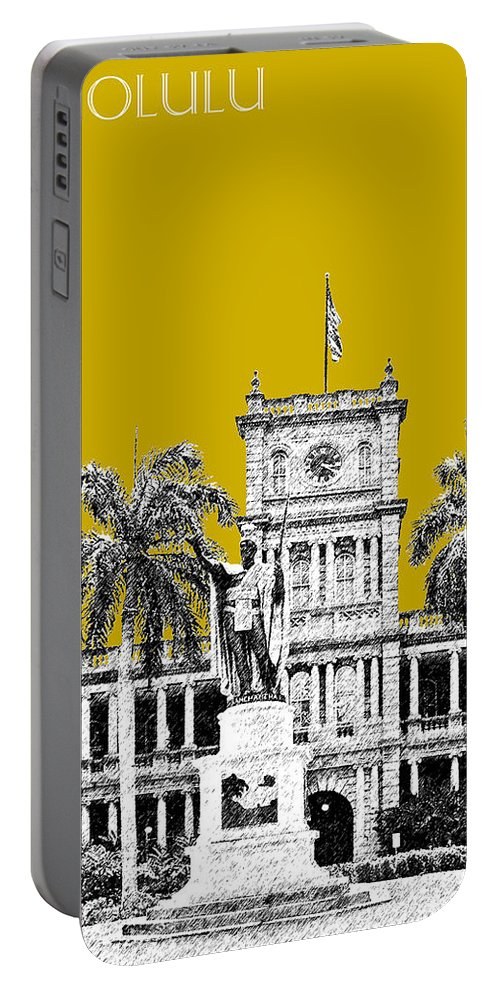Architecture Portable Battery Charger featuring the digital art Honolulu Skyline King Kamehameha - Gold by DB Artist
