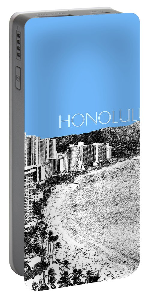 Architecture Portable Battery Charger featuring the digital art Honolulu Skyline Waikiki Beach - Light Blue by DB Artist