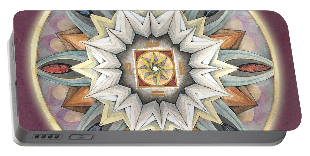 Mandala Art Portable Battery Charger featuring the painting Honor Mandala by Jo Thomas Blaine