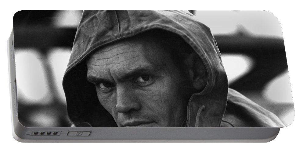 Hooded Spectator Demolition Derby Tucson Arizona 1969 Portable Battery Charger featuring the photograph Hooded Spectator Demolition Derby Tucson Arizona 1969-2008 by David Lee Guss