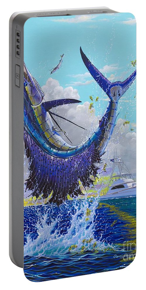 Sailfish Portable Battery Charger featuring the painting Hooked Up Off004 by Carey Chen