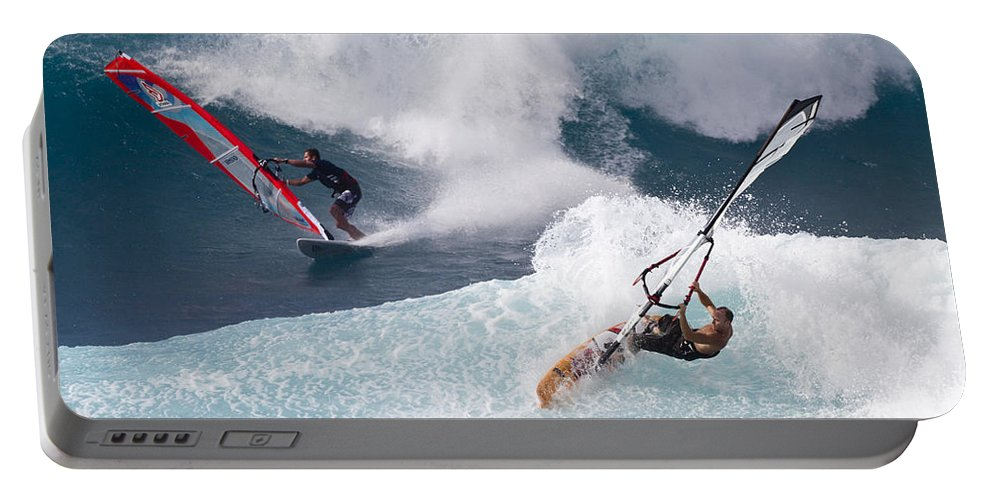 Windsurfer Portable Battery Charger featuring the photograph Ho'okipa Windsurfers by Bryan Keil