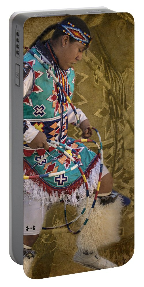 Native American Portable Battery Charger featuring the photograph Hoop Dancer Past And Present by Priscilla Burgers