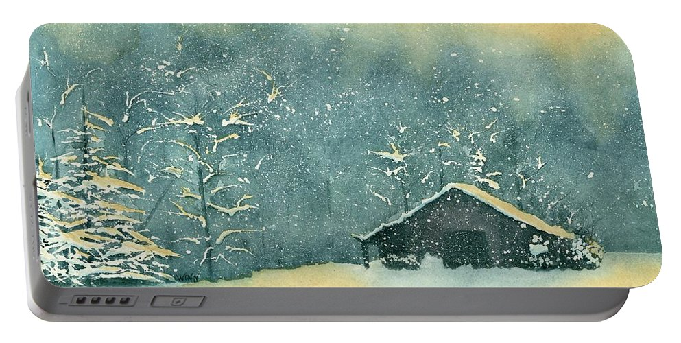 Watercolor Portable Battery Charger featuring the painting Hope Amidst The Storm by Brett Winn