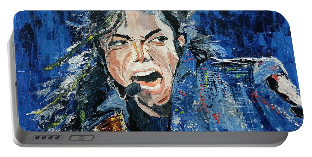 Michaeljackson Portable Battery Charger featuring the painting Hope Dream Believe by Vidya Vivek