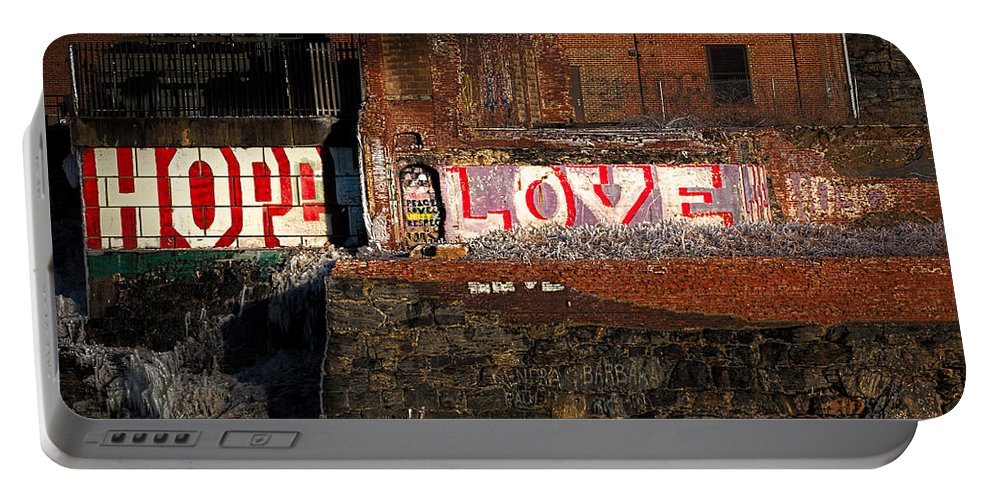 Urban Portable Battery Charger featuring the photograph Hope Love Lovelife by Bob Orsillo