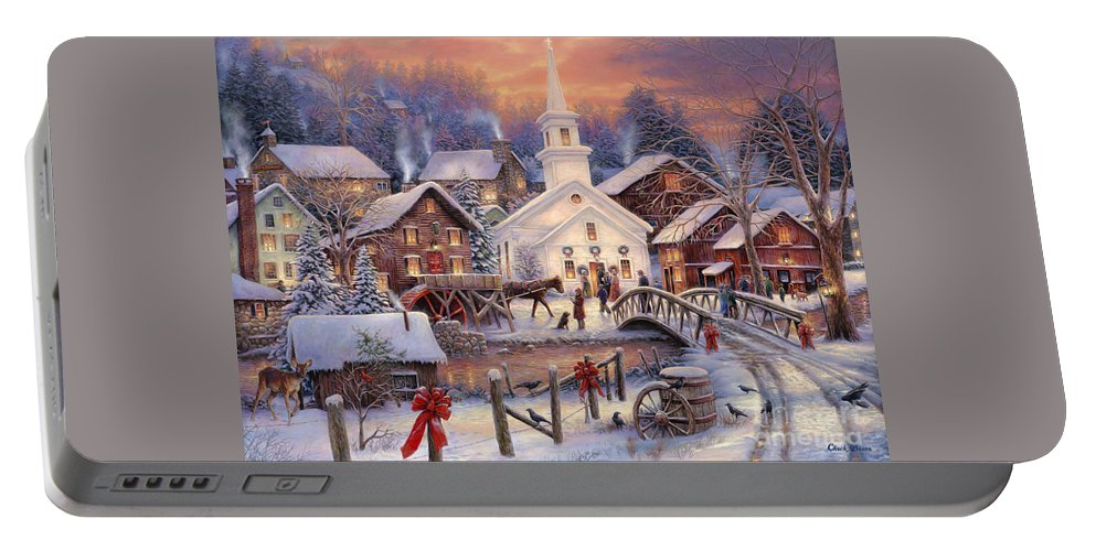 Snow Village Portable Battery Charger featuring the painting Hope Runs Deep by Chuck Pinson