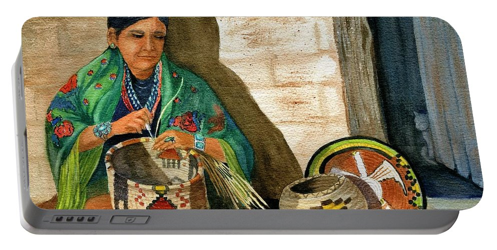 Arizona Native Portable Battery Charger featuring the painting Hopi Basket Weaver by Marilyn Smith