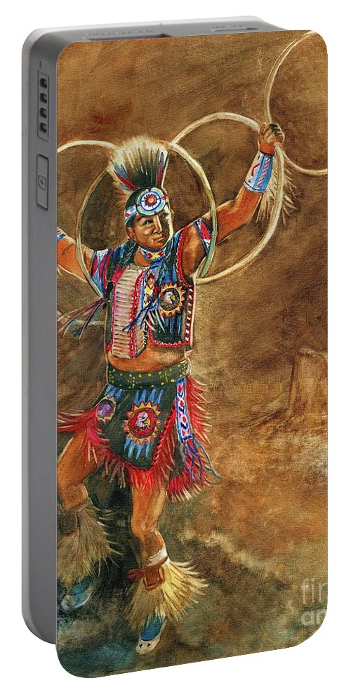 Hopi Hoop Dancer Portable Battery Charger featuring the painting Hopi Hoop Dancer by Marilyn Smith