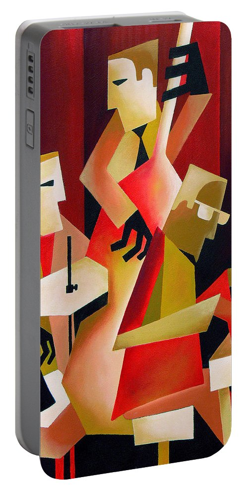 Jazz Portable Battery Charger featuring the painting Horace Parlan Trio - Christiania - Copenhagen by Thomas Andersen