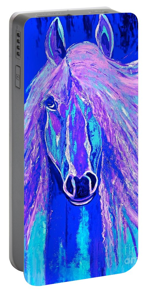 Horse Portable Battery Charger featuring the painting Horse Abstract Blue And Purple by Saundra Myles