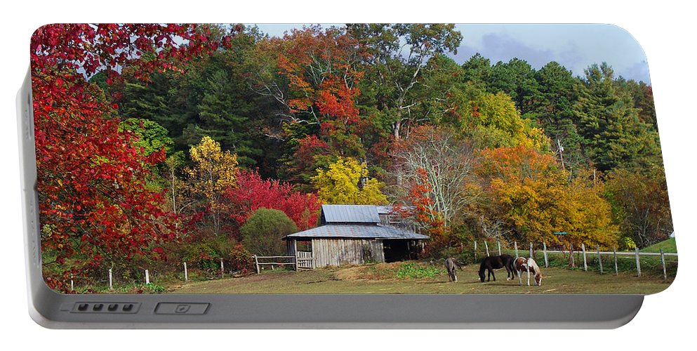 Duane Mccullough Portable Battery Charger featuring the photograph Horse And Barn In The Fall 3 by Duane McCullough