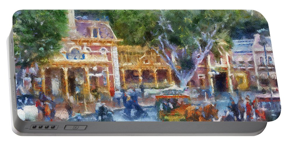 Disney Portable Battery Charger featuring the photograph Horse And Trolley Turning Main Street Disneyland Photo Art 02 by Thomas Woolworth