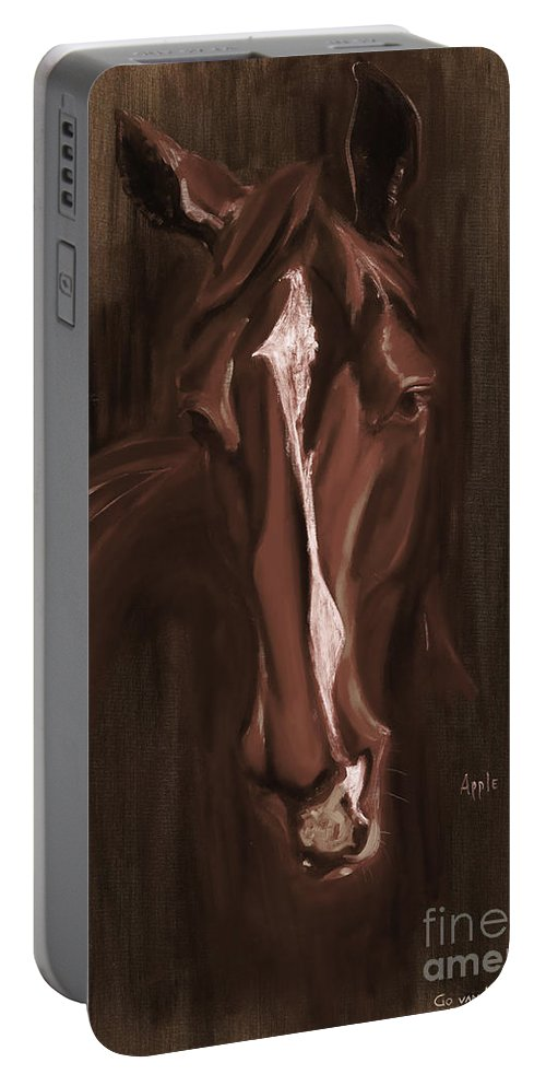 Horse Portable Battery Charger featuring the painting Horse Apple Warm Brown by Go Van Kampen