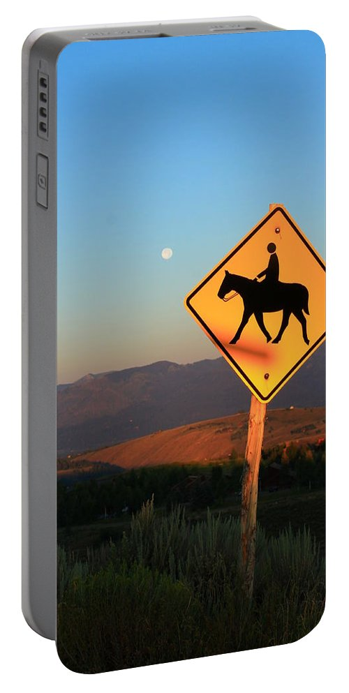 Jackson Hole Wyoming Portable Battery Charger featuring the photograph Horse Crossing by Catie Canetti