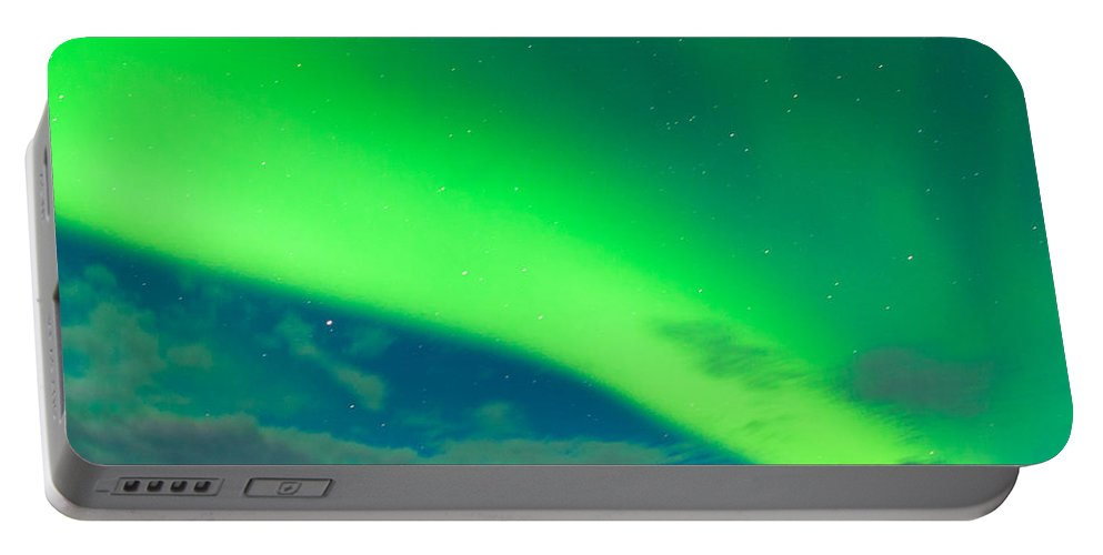 Alaska Portable Battery Charger featuring the photograph Horse Distant Snowy Peaks With Northern Lights Sky by Stephan Pietzko