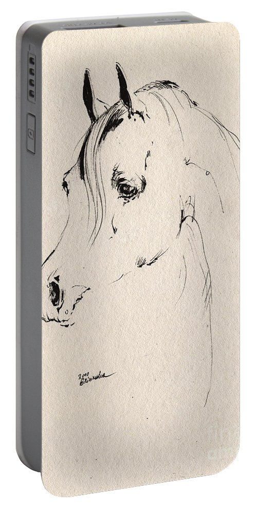 Horse Portable Battery Charger featuring the drawing Horse Head Sketch by Angel Ciesniarska