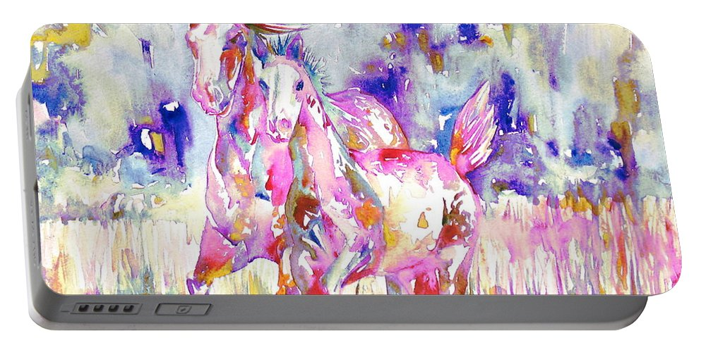 Horse Portable Battery Charger featuring the painting Horse Painting.16 by Fabrizio Cassetta