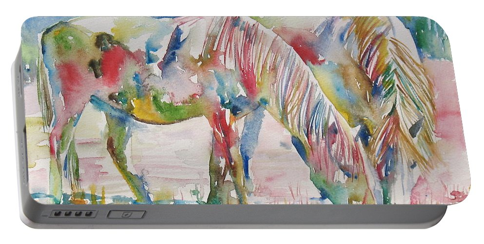 Horse Portable Battery Charger featuring the painting Horse Painting.27 by Fabrizio Cassetta
