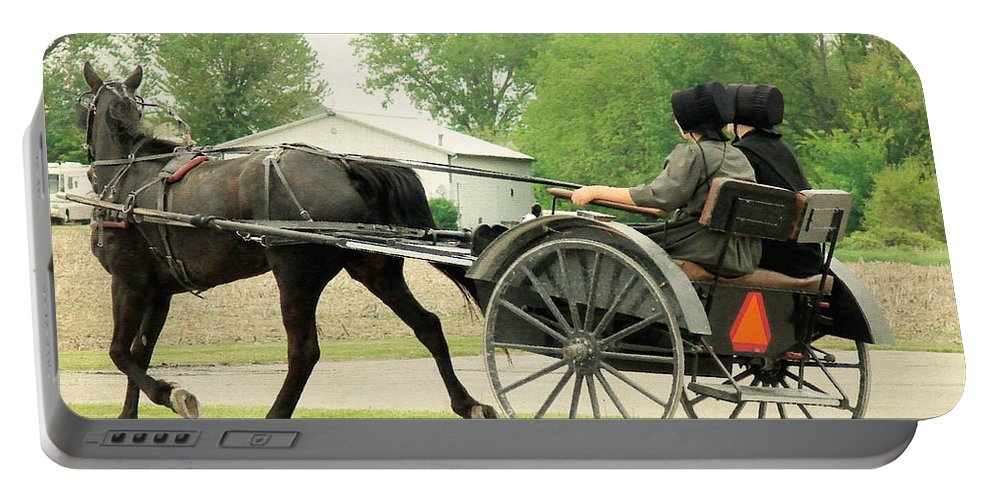 Amish Portable Battery Charger featuring the photograph Horse Powered Transportation by Cassie Peters