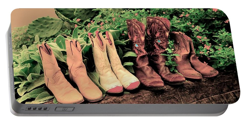 Pink Cowboy Boots Portable Battery Charger featuring the photograph Horse Riding Boots by Kristina Deane