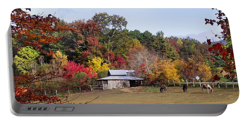 Duane Mccullough Portable Battery Charger featuring the photograph Horses And Barn In The Fall 2 by Duane McCullough