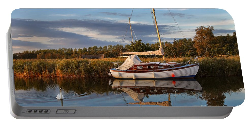 Travel Portable Battery Charger featuring the photograph Horsey Mere In Evening Light by Louise Heusinkveld