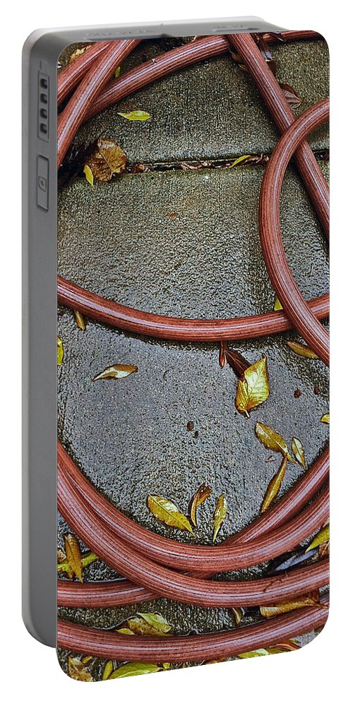water Hose still Life phone Cases Gardening gardening Toolsgardening Portable Battery Charger featuring the photograph Hose Still Life by Bill Owen