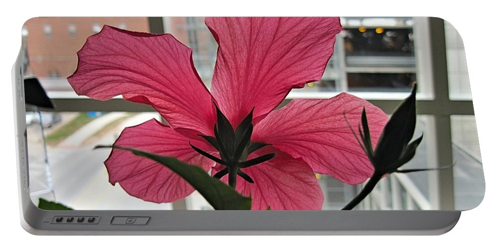 Portable Battery Charger featuring the digital art Hospital Hibiscus by Doug Morgan