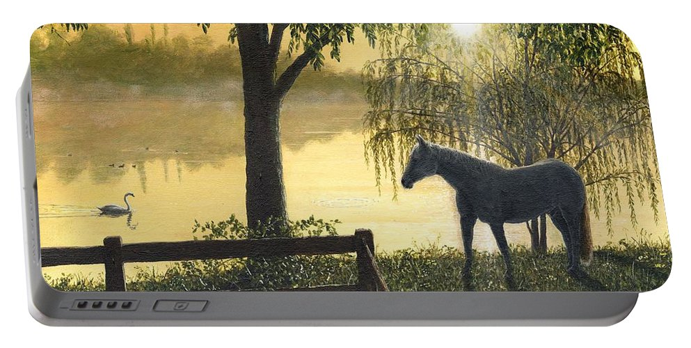 Hoss Portable Battery Charger featuring the painting Hoss by Richard Harpum