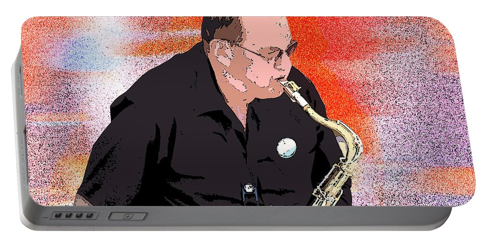 Sax Portable Battery Charger featuring the photograph Hot Licks by Flamingo Graphix John Ellis