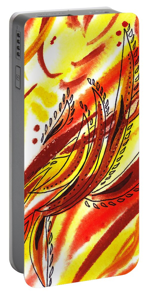 Abstract Portable Battery Charger featuring the painting Hot Lines Twist Abstract by Irina Sztukowski