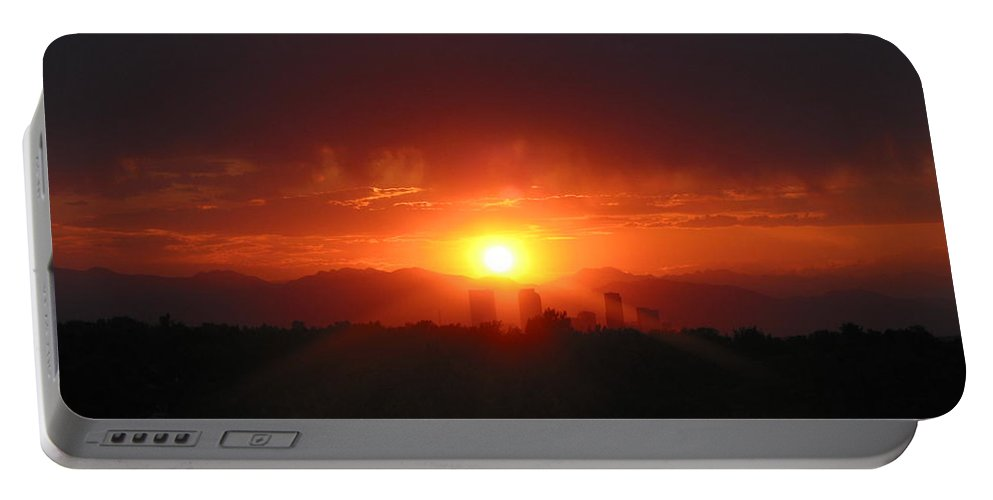 Denver Co Sunset Portable Battery Charger featuring the photograph Hot Summer Nighti IIi Denver Co by Jacqueline Russell