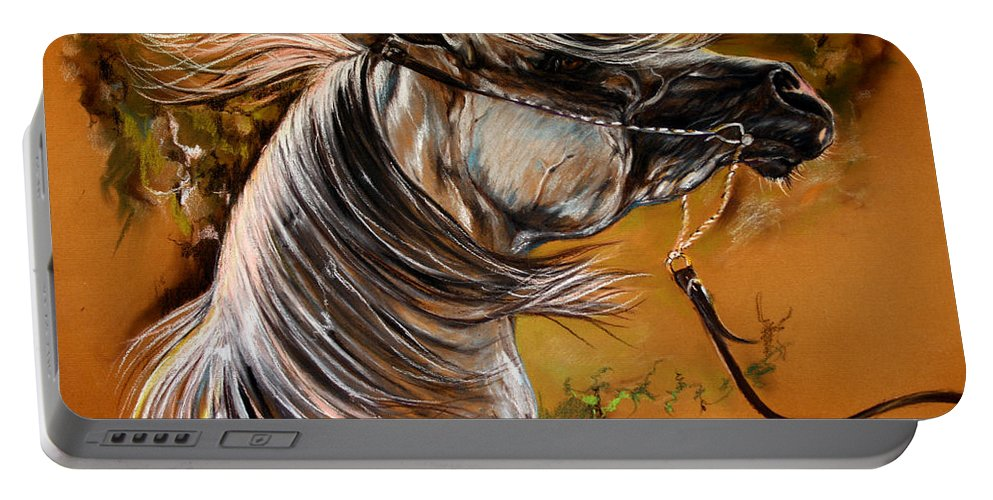 Horse Portable Battery Charger featuring the drawing Hot Temper by Angel Ciesniarska