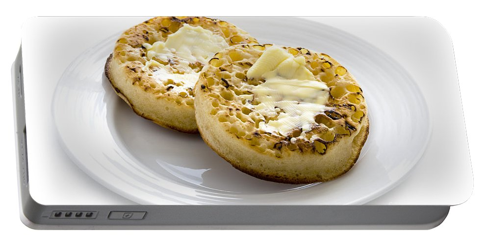 Crumpet Portable Battery Charger featuring the photograph Hot Toasted Crumpets With Butter by Lee Avison