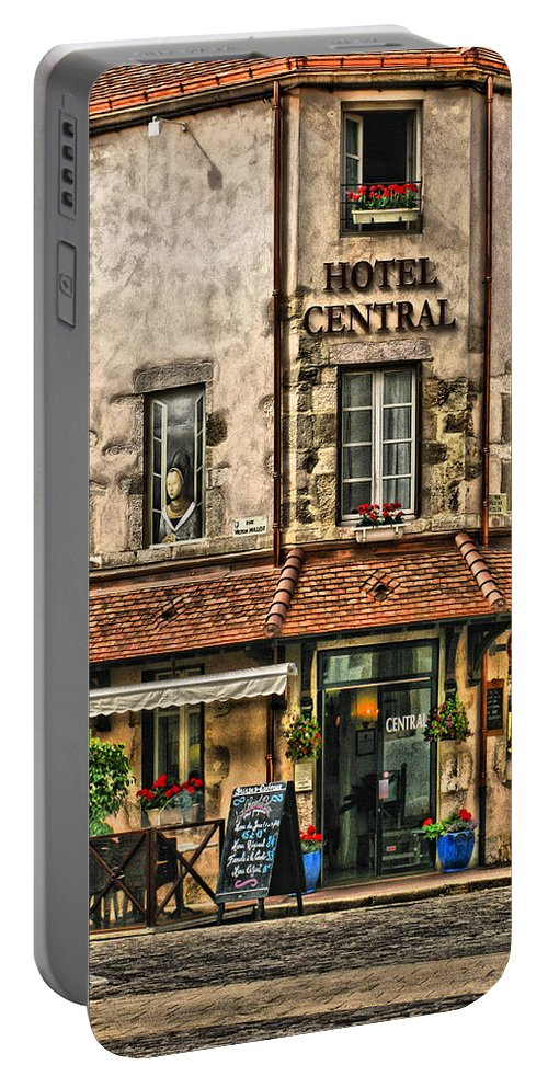 French Village Portable Battery Charger featuring the digital art Hotel Central In Beaune France by Greg Matchick