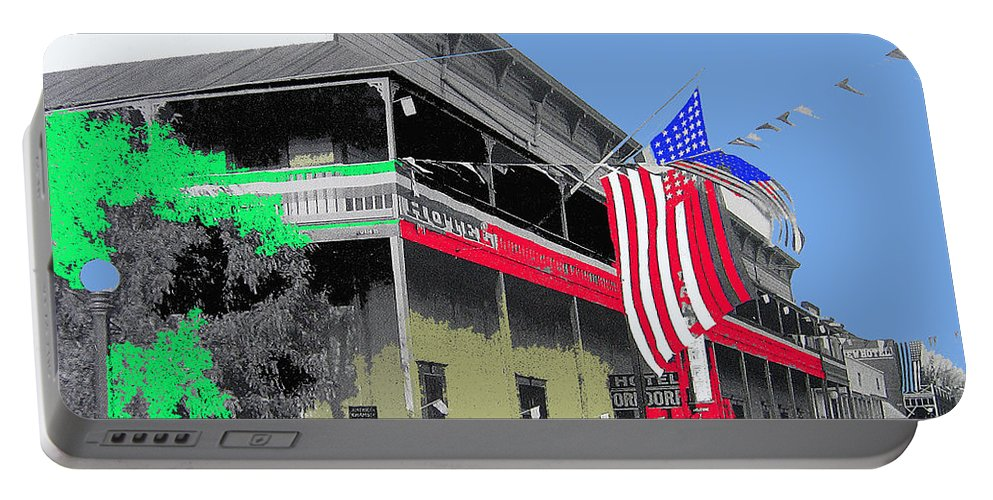 Hotel Orndorff American Flags Tucson Arizona Circa 1915 Color Added Portable Battery Charger featuring the photograph Hotel Orndorff Colored American Flags Tucson Arizona Circa 1915-2012 by David Lee Guss