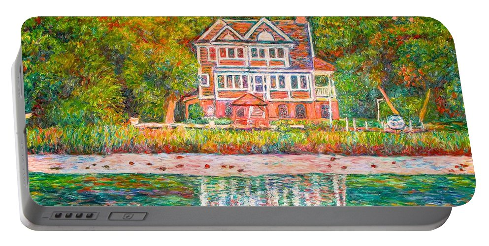 Pawleys Island Portable Battery Charger featuring the painting House By The Tidal Creek At Pawleys Island by Kendall Kessler