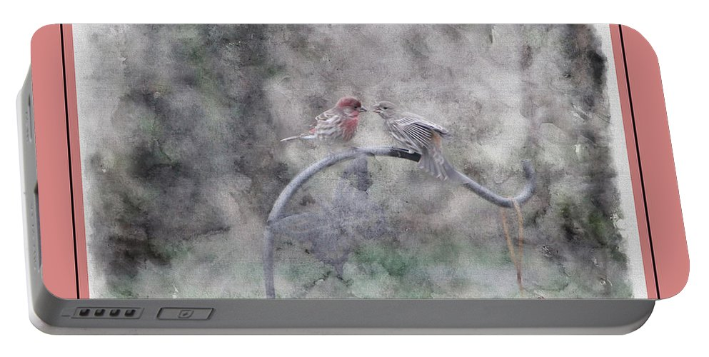 Finch Portable Battery Charger featuring the photograph House Finch - Kiss Me by Ericamaxine Price